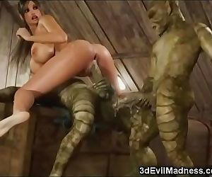 3D Busty Girl Wrecked by Aliens! 3 min