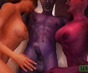 Monster Sex 3D. Demonic couple from Hell fucks Redhead beauty rough and raw
